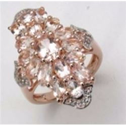 STERLING SILVER MORGANITE RING