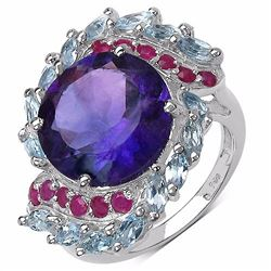 STERLING SILVER AFRICAN AMETHYST , RUBY, BLUE TOPAZ RING