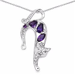 STERLING SILVER AMEETHYST LEOPARD PENDANT