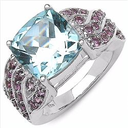STERLING SILVER BLUE TOPAZ AND RHODOLITE RING