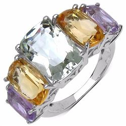 STERLING SILVER GREEN AMETHYST, GOLDEN CITRINE AND PINK AMETHYST RING