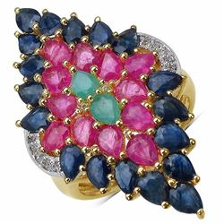 STERLING SILVER BRAZILIAN SAKOTA EMERALD, RUBY AND SAPPHIRE RING