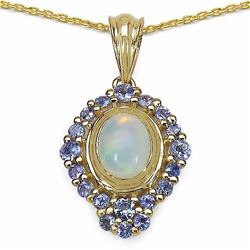 STERLING SILVER ETHIOPIAN OPAL AND TANZANITE PENDANT