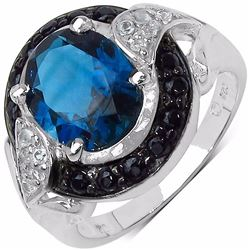 STERLING SILVER LONDON BLUE TOPAZ AND BLACK SPINEL RING