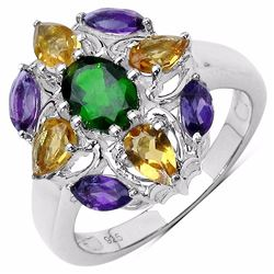 STERLING SILVER CHROME DIOPSIDE, AMETHYST AND CITRINE RING