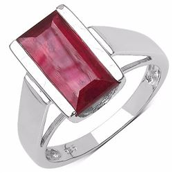 STERLING SILVER BAGUETTE RUBY RING