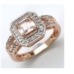 STERLING SILVER OCTAGON MORGANITE RING