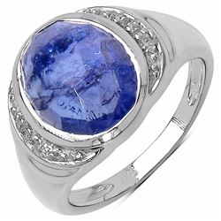 STERLING SILVER ROSE CUT TANZANITE RING