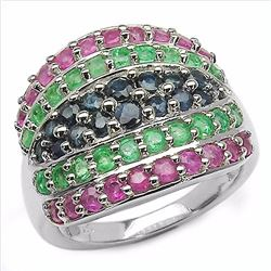 STERLING SILVER EMERALD, RUBY AND SAPPHIRE RING