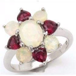 STERLING SILVER ETHIOPIAN OPAL AND RHODOLITE RING