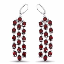 STERLING SILVER GARNET WATERFALL EARRING