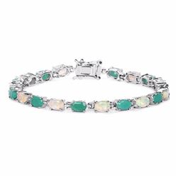 STERLING SILVER EHTIOPIAN OPAL AND SAKOTA EMERALD BRACELET
