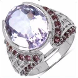 STERLING SILVER PINK AMETHYST AND RHODOLITE RING