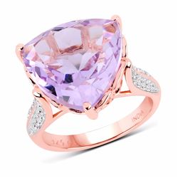 STERLING SILVER PINK AMETHYST TRILLION RING