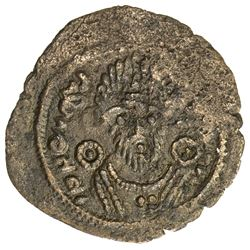 ARAB-SASANIAN: Anonymous, ca. 690-710, AE pashiz (1.19g), Bishapur, ND. VF