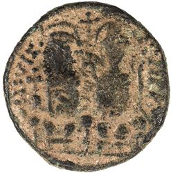 "PERSIAN OCCUPATION OF SYRIA: Justin & Sophia type, ca. 610-630+, AE follis (8.86g), year ""11"". VF"