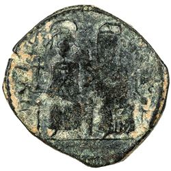 "PERSIAN OCCUPATION OF SYRIA: Justin & Sophia type, ca. 610-630+, AE follis (10.42g), year ""15"". F-VF"