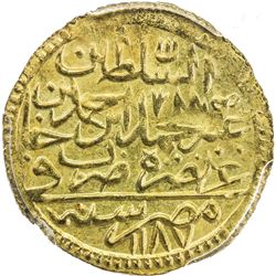 EGYPT: Abdul Hamid I, 1774-1789, AV zeri mahbub, Misr, AH1187 year 2 (for 1192). PCGS MS63