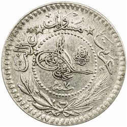 TURKEY: Mehmet V, 1909-1918, nickel 5 para, Kostantiniye, AH1327 year 7. EF