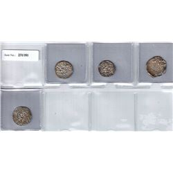 SHAHS OF BADAKHSHAN:LOT of 4 silver dirhams