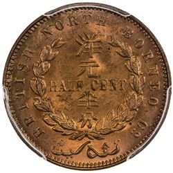 BRITISH NORTH BORNEO: Victoria, 1881-1901, AE 1/2 cent, 1891-H