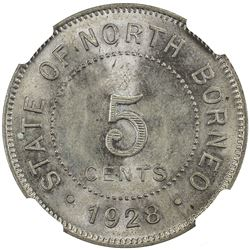 BRITISH NORTH BORNEO: 5 cents, 1928-H. NGC MS66