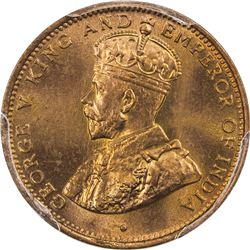 CEYLON: George V, 1910-1936, AE 1/2 cent, 1926. PCGS SP