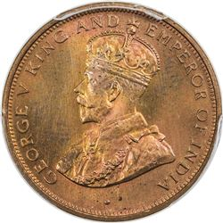 CEYLON: George V, 1910-1936, AE cent, 1926. PCGS SP