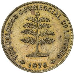 CEYLON: The Colombo Commerical Co. Ltd. brass token (7.75g), 1876. AU