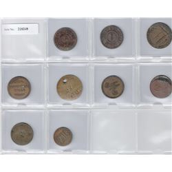 CEYLON:LOT of nine 19th century tokens