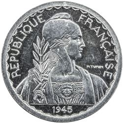 FRENCH INDOCHINA: aluminum 10 centimes, Paris, 1945. PF
