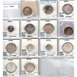 NEPAL:LOT of 12 silver coins