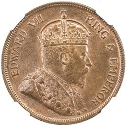 STRAITS SETTLEMENTS: Edward VII, 1901-1910, AE cent, 1908. NGC MS63