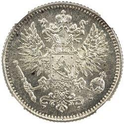 FINLAND: Nicholas II, as Grand Duke, 1894-1917, AR 50 pennia, 1907. NGC MS63