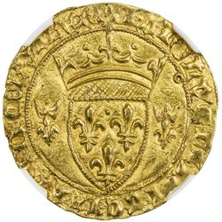 FRANCE: Charles VII, 1422-1461, AV ecu d'or a la couronne. NGC MS63