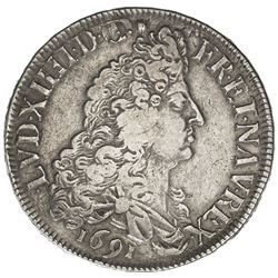 FRANCE: Louis XIV, 1643-1715, AR ecu (26.89g), Rennes, 1691. VF