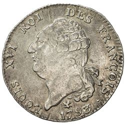 FRANCE: Louis XVI, 1774-1793, AR ecu, Bayonne, 1793-L. VF