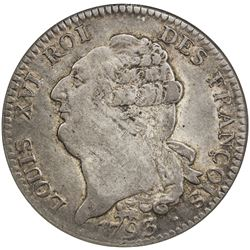 FRANCE: First French Republic, AR ecu, 1793-A. NGC AU50