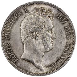 FRANCE: Louis Philippe, 1830-1848, AR 5 francs, Paris, 1830-A. PCGS MS63