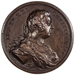 FRANCE: Louis XV, 1715-1774, bronze medal (57.86g), 1740. AU