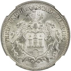 HAMBURG: Free and Hanseatic City, AR 2 mark, 1907-J. NGC MS65