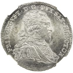 SAXONY: Friedrich August III, 1763-1806, AR 1/3 thaler, 1797. NGC MS64