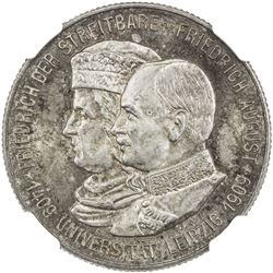 SAXONY: Friedrich August III, 1904-1918, AR 2 mark, 1909. NGC MS65