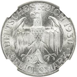 GERMANY: Weimar Republic, AR 3 mark, 1930-A. NGC MS65