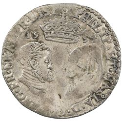 ENGLAND: Philip and Mary, 1554-1558, AR sixpence, 1554. F