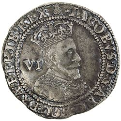 ENGLAND: James I, 1603-1625, AR sixpence, 1603. VF