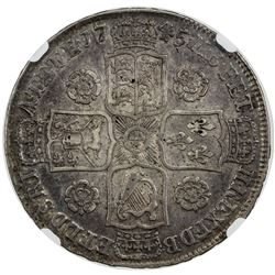 GREAT BRITAIN: George II, 1727-1760, AR half crown, 1745, 5 over 3. NGC EF40