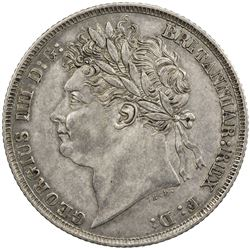 GREAT BRITAIN: George IV, 1820-1830, AR shilling, 1821. EF