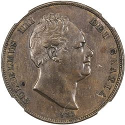 GREAT BRITAIN: William IV, 1830-1837, AE penny, 1831. NGC AU50