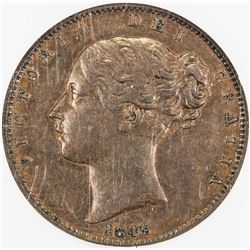 GREAT BRITAIN: Victoria, 1837-1901, AE farthing, 1849. NGC AU55